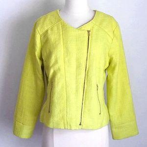 Charlotte Russe Yellow Tweed Wool Moto Jacket